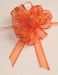 Orange Organza Pull Bow with Satin Edge, 12 individually packed bows