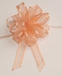 Peach Organza Pull Bow with Satin Edge, 12 individually packed bows