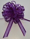 Purple Organza Pull Bow with Satin Edge, 12 individually packed bows