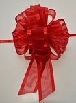 Red Organza Pull Bow with Satin Edge, 12 individually packed bows