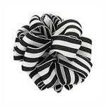 Wired Grosgrain Carnival Ribbon, Black/White, 25 yards