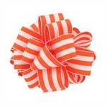 Wired Grosgrain Carnival Ribbon, Orange/White, 25 yards