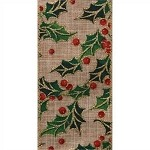 Linen Holly Wired Ribbon