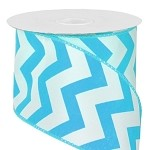 Turquoise Wired Chevron Satin Ribbon, 25 yards