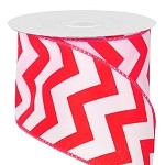 Red Wired Chevron Satin Ribbon, 25 yards