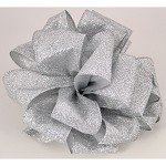 Silver Partytime Wired Ribbon, 2-1/2
