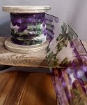 Purple Grape Garden Satin Stripes on Sheer Wired Ribbon, 2