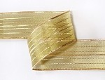 Wired Metallic Sheer Ribbon with Gold Stripes, 25 yards