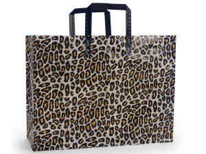 "Leopard Printed Frosted Shopper Bags (16"" x 6"" x 16"")"