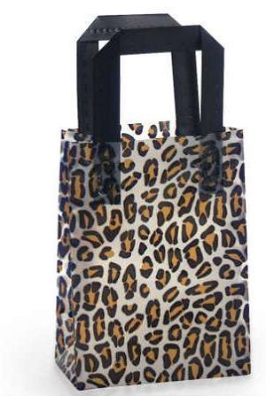 "Leopard Printed Frosted Shopper Bags (5.25"" x 3.25"" x 8.5"")"