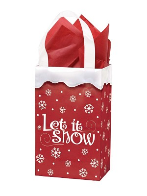 "Let It Snow Printed Frosted Shopper Bags (5"" x 3"" x 7"")"