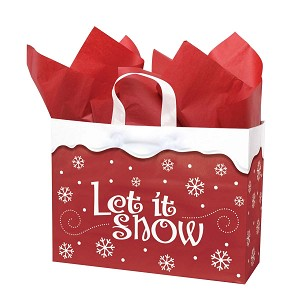 "Let It Snow Printed Frosted Shopper Bags (16"" x 6"" x 12"" tall)"