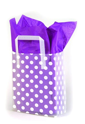 "White Dots on Clear Printed Frosted Shopper Bags (5"" x 3"" x 7"")"