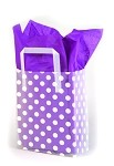 White Dots on Clear Printed Frosted Shopper Bags (5