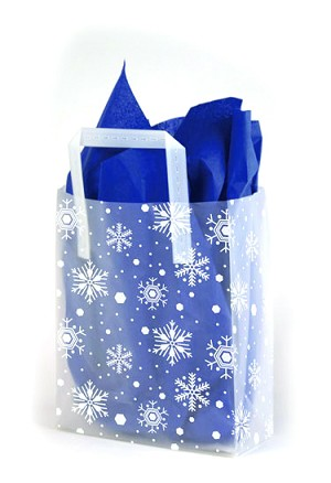 "Snowflake Printed Frosted Shopper Bags (5"" x 3"" x 7"")"