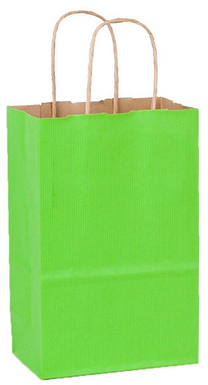 "Apple Green Petite Colored Shoppers  (ROSE, 5.25"" x 3.25"" x 8.25"")"