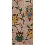 Wired Owls on Linen Ribbon, 2.5 inch x 10 yards
