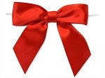 Satin Pre-Tied Bow, Red, 12 pieces