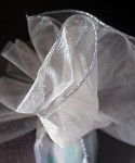 Sheer Wrapper with Tassel, 28 inch diameter Ivory with silver edge, 3 pieces