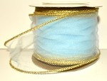 Light Blue Wired Tulle with Gold Edge (3