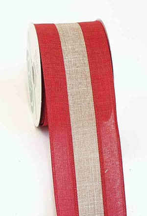 Red and Natural 2 Tone Linen Wired Ribbon