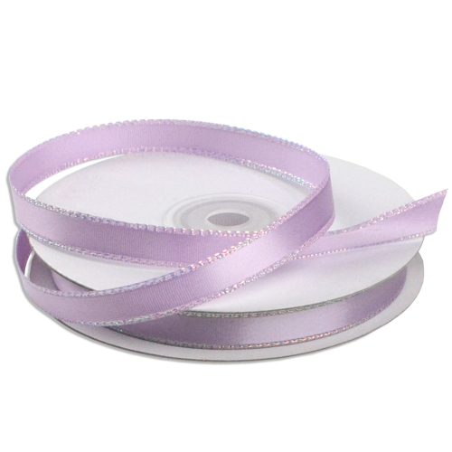 25 Yards Lime Satin Ribbon with Iridescent Edging