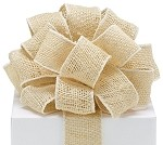 Ivory Burlap Wired Ribbon, 2