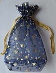 Blue Star Sheer Pouch with Gold Stars (5.75