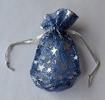 Blue Star Sheer Pouch with Silver Stars (3.25