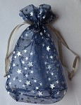 Blue Star Sheer Pouch with Silver Stars (5.75