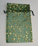 Green Star Sheer Pouch with Gold Stars (4