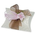 Ivory Diamante Embossed Pillow Box (3-3/4