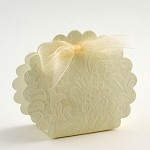 Ivory Diamante Embossed Scalloped Edge Favor Box (3-1/4