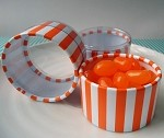 Orange Stripe Printed Cylinder Containers, 2