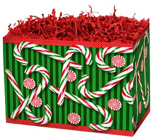 "Candy Cane Basket Boxes (Large, 10.25"" x 6"" x 7.5"")"