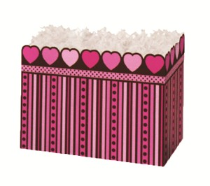 "Pink Chocolate Basket Boxes (Small, 7"" x 4"" x 5"")"