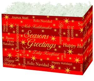 "Season's Greetings to All Basket Boxes (Large, 10.25"" x 6"" x 7.5"")"