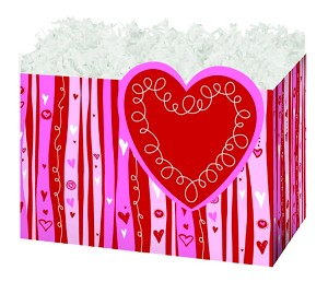"Swirly Hearts Basket Boxes (Large, 10.25"" x 6"" x 7.5"")"