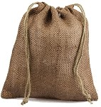 Chocolate Burlap Jute Bags - 10 pack