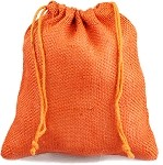 Orange Burlap Jute Bags - 10 pack