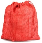 Red Burlap Jute Bags - 10 pack