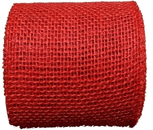 "Red Burlap Jute Ribbon with a Finished Edge, 4"" x 10 yards (30 feet)"