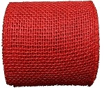 Red Burlap Jute Ribbon with a Finished Edge, 4