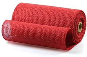 "Red Burlap Jute Ribbon with a Finished Edge, 9"" x 10 yards (30 feet)"