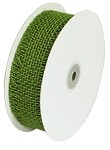 Green Burlap Jute Ribbon with Fringed Edge, 1.5