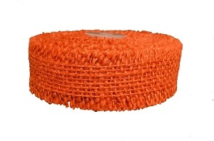"Orange Burlap Jute Ribbon with Fringed Edge, 1.5"" x 10 yards (30 feet)"