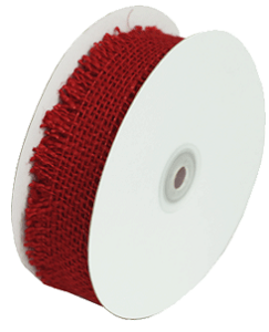 "Red Burlap Jute Ribbon with Fringed Edge, 1.5"" x 10 yards (30 feet)"