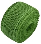 Green Burlap Jute Ribbon with Fringed Edge, 2.5