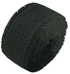 Black Burlap Jute Ribbon with Fringed Edge, 2.5
