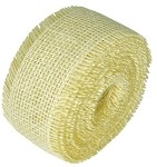 Ivory Burlap Jute Ribbon with Fringed Edge, 2.5